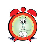 Sad alarm clock cartoon Royalty Free Stock Image