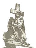 Sad angel and cross. Illustration Royalty Free Stock Image