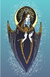 Angel of a blind arrow Blue. Sad angel with the moon against the background of in the form of a nimbus vector illustration