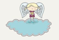 Sad angel in mourning on cloud. Line illustration of a sad angel holding a flower. Items grouped on separate layers Royalty Free Stock Photo
