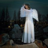 Sad angel in ruins Stock Photography