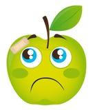 Sad apple. Green sad apple with adhesive bandage isolated vector illustration Stock Image
