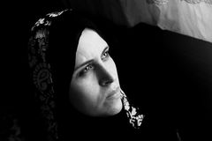 Sad arab egyptian muslim woman Royalty Free Stock Photo