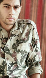 Sad arab egyptian young man in military suit Royalty Free Stock Photo