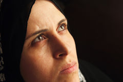 Sad arab muslim woman staring Royalty Free Stock Photography
