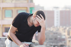 Sad arab young businessman thinking feeling despair Royalty Free Stock Photography