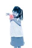 Sad asian child injured at elbow. Isolated on white background. Royalty Free Stock Photo