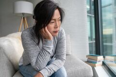 Free Sad Asian Mature Woman Lonely At Home Self Isolation Quarantine For COVID-19 Coronavirus Social Distancing Prevention Stock Photography - 177393002