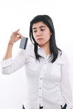 Sad Asian Woman With Her Credit Card Royalty Free Stock Photography