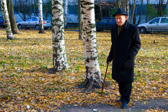 Sad Autumn. Portrait of walking old man in a hat with walkingstick Stock Photography