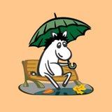 Sad autumn donkey illustration Royalty Free Stock Photography