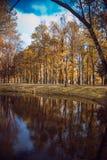 A sad autumn park in cloudy weather stock photos