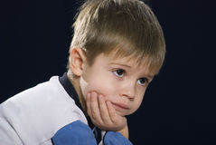 Sad baby. Portrait of a sad little boy a great person Stock Images