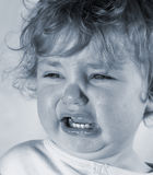 Sad Baby. Baby with tear streaked face stock photos