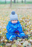 Sad baby boy sitting on yellow leaves in autumn Royalty Free Stock Photography