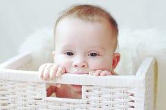 Sad baby in white basket Stock Photos