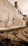 Sad backstreet. Industrial back street in Montreal Royalty Free Stock Image