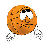 Sad Basketball ball cartoon Royalty Free Stock Photo