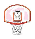 Sad basketball hoop cartoon Royalty Free Stock Photo