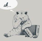 Sad bear with accordion. Sketch. Stock Image