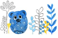 Sad bear Cartoon animals. Drawing in watercolor and graphic style for the design of prints, backgrounds, cards, invitations stock illustration