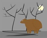 Sad bear. Sadly fat bear under full moon near trees silhouettes on grey background Stock Illustration