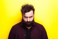 Sad bearded hipster man Stock Image