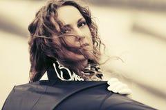 Sad beautiful fashion woman with umbrella outdoor Royalty Free Stock Photos