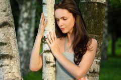 Sad beautiful girl in a birch grove Royalty Free Stock Photo