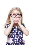 Sad beautiful little girl in glasses isolated Royalty Free Stock Photography
