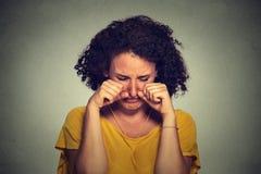Sad beautiful woman crying Stock Image