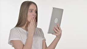 Sad Beautiful Young Woman Facing Loss on Tablet