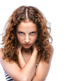 Sad beautiful young woman in striped vest Royalty Free Stock Images