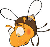 Sad bee. Cartoon. It is yellow a brown toy bee with the big eyes Stock Images