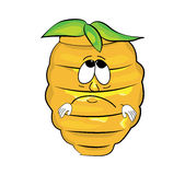 Sad beehive cartoon Royalty Free Stock Photography