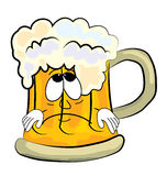 Sad beer cartoon Stock Images