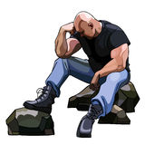 Sad big bald man sitting on the rocks. In a pose Stock Image