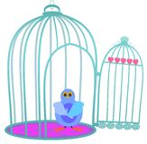 A sad bird in the cage Royalty Free Stock Photography