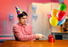 Sad birthday boy Stock Images