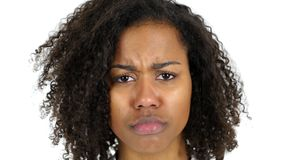 Sad Black Woman Face, Crying, white Background. High quality Stock Photos