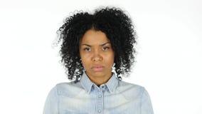 Sad Black Woman on White Background Royalty Free Stock Photos