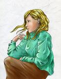 Sad blond girl. Sad blonde girl wearing green sweater and brown skirt. Colored pencil drawing Stock Images