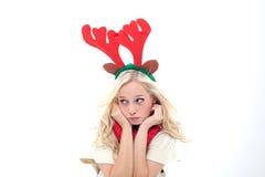 SAD blond kvinna med horns Royaltyfria Foton