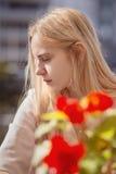 Sad blond woman Stock Image