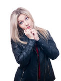 Sad blonde in leather jacket royalty free stock photos