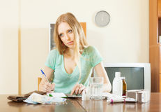 Sad blonde woman with medications and money Royalty Free Stock Image