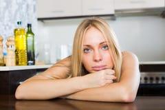 Sad  blonde  woman Stock Images