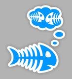 Sad blue fish bone stickers. Sad thinking blue fish bone stickers with shadow Royalty Free Stock Image