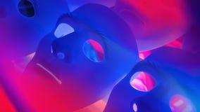 Sad blue masks, stress background stock footage