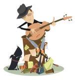 Sad Blues Or Jazz Man Plays Guitar Stock Images